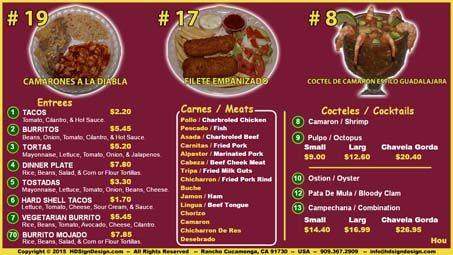 HD Sign Design digital menu website